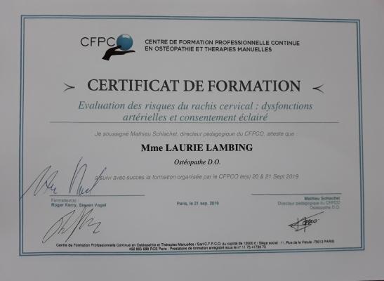 Certificat Formation Évaluation des risques du rachis cervical